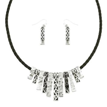 Marisol Silver Necklace Set with Leather Braided Cord