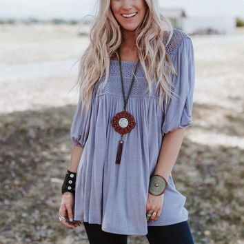 Day Away Crochet Tunic Top - Lavender