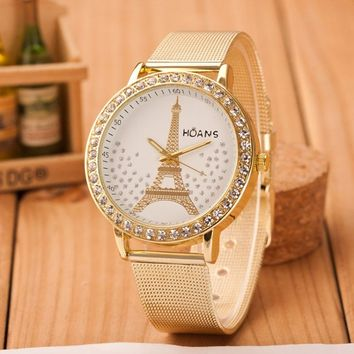 Women Ladies Crystal Eiffel Tower Gold Stainless Steel Mesh Band Wrist Watch