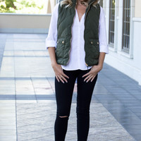 Warm Me Up Quilted Olive Vest