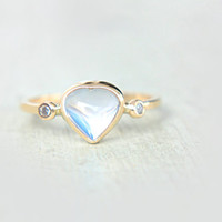 Heart Rainbow Moonstone and Diamond Ring 14k Yellow Gold Moonstone Diamond Gold Ring Made in Your Size Rainbow Moonstone Engagement Ring