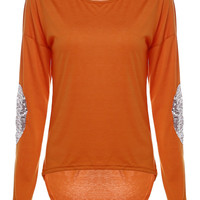Orange Elbow Patched Dip Hem Top