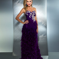 Mac Duggal Prom 2013- Strapless Purple Gown With Feathers - Unique Vintage - Cocktail, Pinup, Holiday & Prom Dresses.