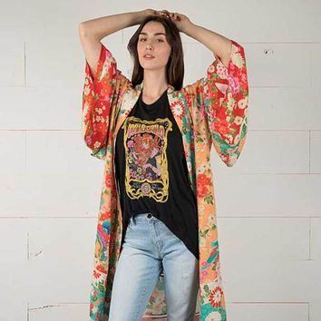 Boho Floral and Bird Print Long Kimono