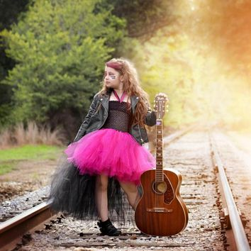 Hot pink and Black Tulle Rockstar Girls Dress Outfit for Halloween Costume Little Girl Tutu Dress Funking Girls Party Dresses