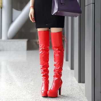 Fashion New 2016 Women Over the Knee Boots Pu Leather Shoes Winter Back Straps 7908