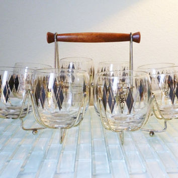 Vintage Mod Atomic Federal Barware set 8 Glasses with Caddy Diamonds Black Gold Mad Men Roly Poly