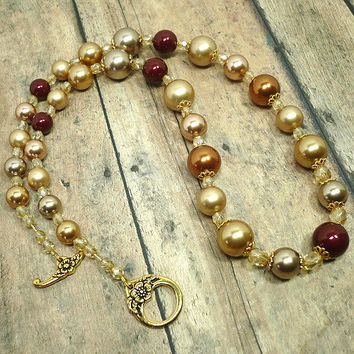 Swarovski Gold Bronze Bordeaux Crystal Pearl Champagne Luster Necklace