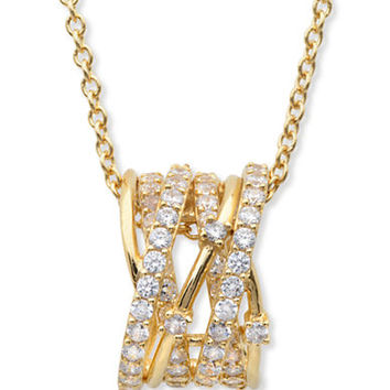 Crislu 18Kt. Gold and Cubic Zirconia Entwined Pendant Necklace