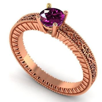 18K Rose Gold Solitaire Filigree Amethyst Ring Unique Purple Amethyst Engagement Ring  Milgrain Ring Christmas Ring