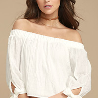Tender Moments White Off-the-Shoulder Crop Top