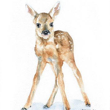 Deer Fawn Watercolor Painting Giclee Print 8x10 Nursery Art