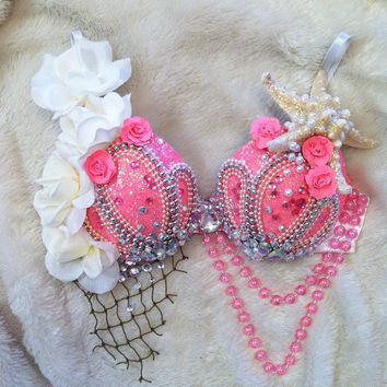 Neon Pink Mermaid Rave Bra