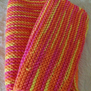Hand crafted knit dish cloth Set of 2-Orange, Pink and Yellow