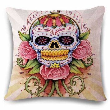 Hand Painted Linens Cotton Halloween Sugar Skull Pillow Cover Vintage Home Decor For Sofa Car Color Cushion Cover Bedding e1262 - Linen Cotton, 45x45cm No14 Cover