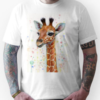 Baby Giraffe Watercolor Painting Unisex T-Shirt