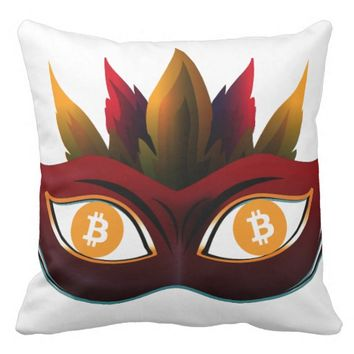 Cool Bitcoin eyes carnival mask Design Throw Pillow