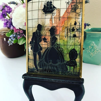 Antique Romantic Victorian Courting Couple Miniature Silhouette