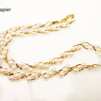 Napier  necklace small pearl and gold chain