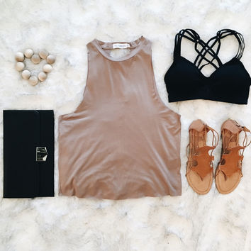 An Open Back Everyday Tank in Taupe