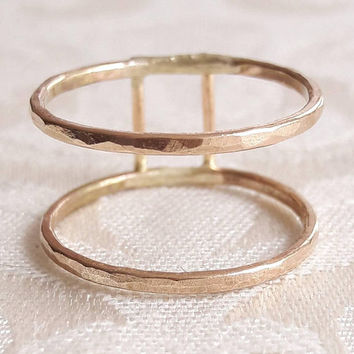 Double Band Ring - Stackable Ring - Hammered Gold Ring - Midi Ring - Parallel Bands - Sterling Silver Ring - Wide Ring - Gold Fill Rings