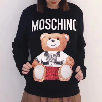 Moschino Fashion Casual Plus Velvet Top Sweater Pullover