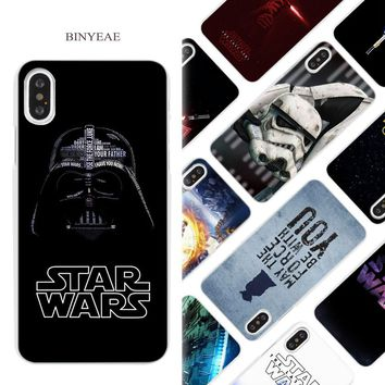 BINYEAE Star Wars Hard White Phone Case Cover Coque Shell for iPhone X 6 6S 7 8 Plus 5 5S SE 4 4S 5C