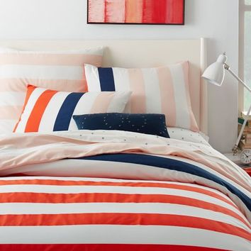Prep Stripe Duvet Cover + Shams - Bright Star
