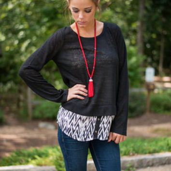 Let A Little Snow Fall Top, Black