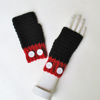 Mickey Mouse Wristwarmers, Fingerless Gloves, Texting Mitts, Cute Accessory, Great for Halloween Costumes, Ready to Ship