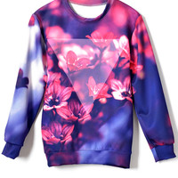 Dazzling Floral Triangle Print Sweatshirt - OASAP.com