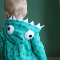 Teal Polka Dot Monster Hoodie Size 3T or 5T by punksyshop on Etsy