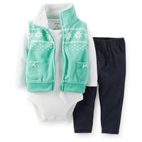 3-Piece Fleece Vest & Jegging Set