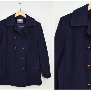 Mens Pea Coat, Navy Pea Coat, Vintage Clothing, Wool Pea Coat, Small, Vintage Coat, Double Breasted Coat, Wool Coat, Vintage Clothes
