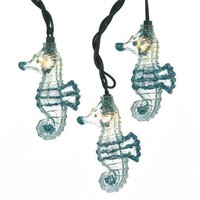 Glittered Seahorse String Lights, Blue