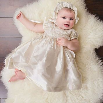 New Arrival Baby Christening Dresses White and Ivory With Headband