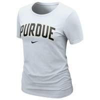 Nike Purdue Boilermakers Ladies Arch Crew T-Shirt - White