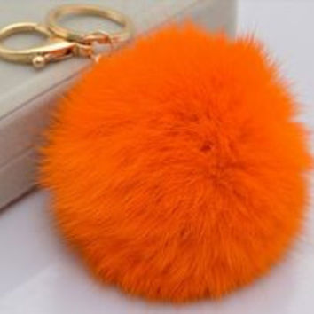 Orange Big Rabbit Fur Pom Keychain