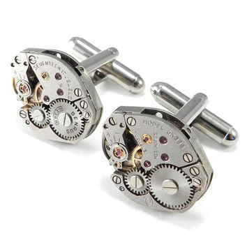 Silver Watch Movement Cufflinks - Classic - 17 Ruby Jewels