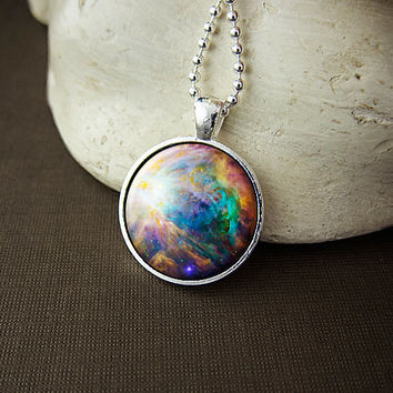 Colorful Orion Nebula Necklace, Bright Nebula Pendant, Galaxy Necklace, Space Art Pendant