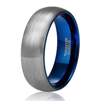 CERTIFIED 6 mm 8 mm Tungsten Carbide Wedding Band  Blue/Black Two Tone Brushed