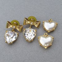 Butler & Wilson 1980's Vintage Princess Diana Interchangeable Rhinestone & Faux Pearl Heart Bow Earrings