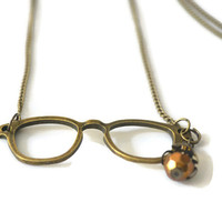 Reading Glasses Necklace, Charm Necklace, Bronze Metal Chain Necklace, Mothers Day Gift