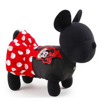 New Fashion Pets Dresses Cute Red Dots Mickey Mouse Dog Dresses Sizes XXS-L Yorkshire Poodle Costumes In Spring and Summer