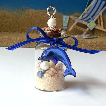 Dolphin Coastal Christmas ornaments, glass bottle seashell beach ornament, miniatures