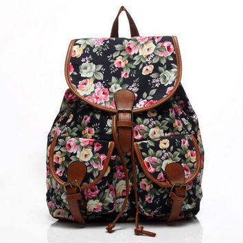 Day-First™ Cute Black Flower Large College Backpacks for School Bag Canvas Daypack Travel Bag