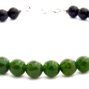 Mens HOPE HEALTH & WEALTH Heart Chakra Bracelet w/ Green Jade