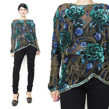 80s Sheer Silk Sequin Blouse Long Sleeve Sequin Shirt Disco Glam Party Top Floral Silk Blouse Turquoise Gold Beads Evening Beaded Blouse (M)