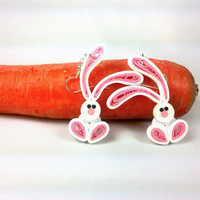 Cute Bunny Earrings Paper Quilling - paper quilled earrings, rabbit earrings, quilled bunny earrings, paper quilling jewelry, paper earrings