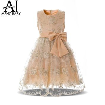 Kids Dresses For Girls Party Frock Children's Lace Dress For Girl Fancy Champagne Prom Gown